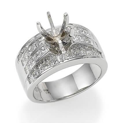Juego de anillos nupciales con diamantes Princesa de 2,40 quilates