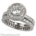 Foto Juego de anillos nupciales con diamantes redondos laterales de
