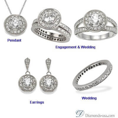 Bridal rings set with side round diamonds