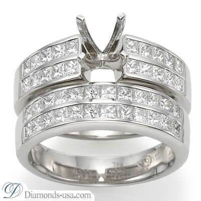 Bridal rings set, 2 carat princess sides