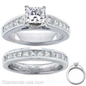 Picture of Bridal rings set, 2 carats Princess side diamonds