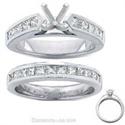 Foto Juego de anillos nupciales, diamantes Princesa laterales de 2 quilates de
