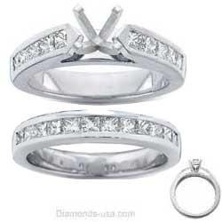 Bridal rings set, 2 carats Princess side diamonds