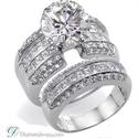 Foto Juego de anillos nupciales, diamantes laterales de 2,25 quilates de