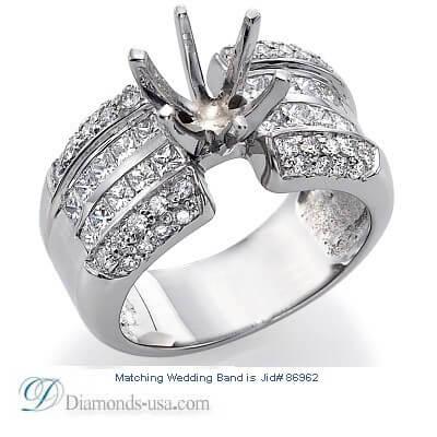 Bridal rings set, 2.25 carat side diamonds