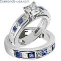 Foto Juego de anillos nupciales, diamantes Princesa y zafiros de