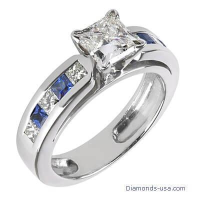 Bridal rings set, Princess diamonds & Sapphires