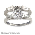 Picture of Bridal rings set, side tapered Baguette diamonds