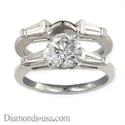 Foto Set de anillos nupciales, diamantes Baguette cónicos laterales de