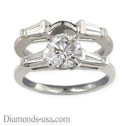 Set de anillos nupciales, diamantes Baguette cónicos laterales