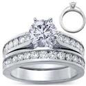 Foto Juego de anillos nupciales, diamantes redondos laterales de 1 quilate de
