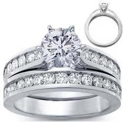 Juego de anillos nupciales, diamantes redondos laterales de 1 quilate