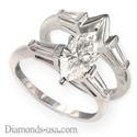 Foto Juego de anillos nupciales, diamantes Baguette cónicos laterales de