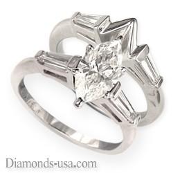 Juego de anillos nupciales, diamantes Baguette cónicos laterales