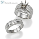 Foto Juego de anillos nupciales, diamantes Princesa laterales de 2,60 quilates de