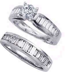 Set nupcial, diamantes Baguette de 2 quilates