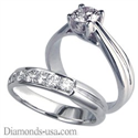 Picture of Criss Cross Bridal rings set, with side diamonds