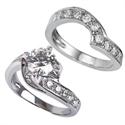 Foto Juego nupcial de diseñadores con diamantes laterales de 1 quilate de