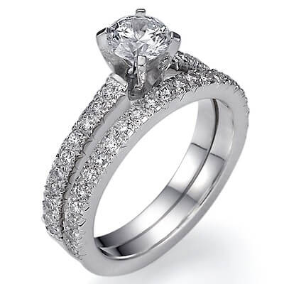 Diamonds bridal set, 1/2 carat side diamonds