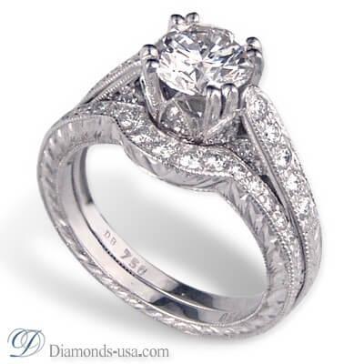 Edwardian Vintage bridal rings set replica