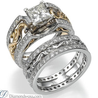 Our exclusive Art Deco style Bridal rings set