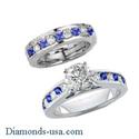 Foto Juego de anillos nupciales con diamantes redondos y zafiros de