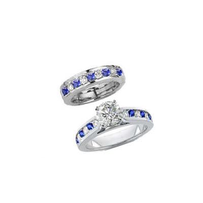 Juego de anillos nupciales con diamantes redondos y zafiros