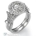 Foto Juego de anillos nupciales de estilo victoriano, piedras de 0,6 quilates de