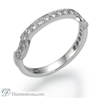 Juego de anillos nupciales de estilo victoriano, piedras de 0,6 quilates