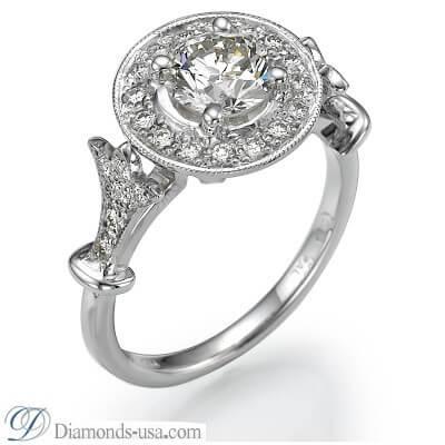 Juego de anillos nupciales de estilo victoriano, 0,90 quilates