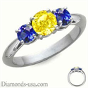 Picture of 1 carat sides Blue Sapphires Engagement ring