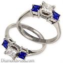 Foto Anillo de Compromiso con zafiros azules Princesa laterales de