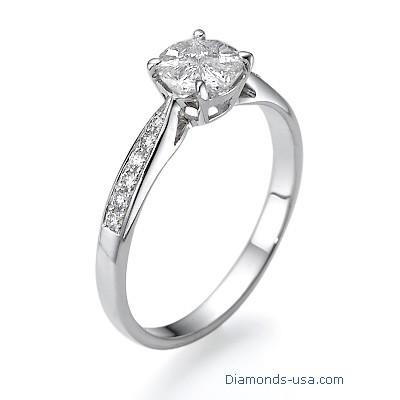 Anillo de compromiso con diamantes laterales con apariencia de 1 quilate