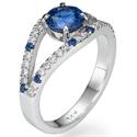 Foto Anillo de compromiso, de diseñadores de Zafiro Azul Real Redondo de