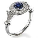 Foto Anillo de compromiso victoriano con zafiros y diamantes de