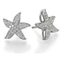 Foto Pendientes en forma de estrella de mar, diamantes redondos de 1/2 quilate de