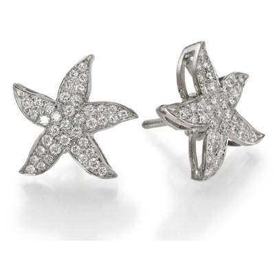 Pendientes en forma de estrella de mar, diamantes redondos de 1/2 quilate