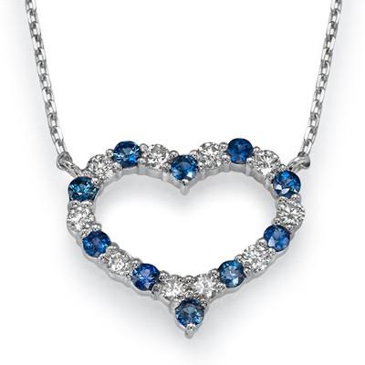 Collar de diamantes y zafiros en forma de corazón