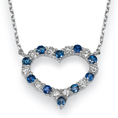 Diamonds & Sapphires Heart necklace