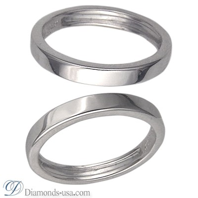 3 mm, Flat surface wedding ring