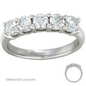 Picture of 1.25 carat five round diamonds anniversary ring