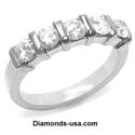 Picture of 1 carat five round diamonds anniversary ring.