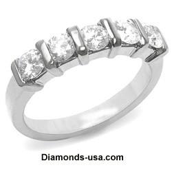 1.76 carats E VS1 five diamonds ring.