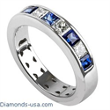 Picture of 4.7mm Diamond and Sapphires Princess wedding ring