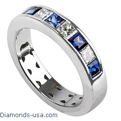 4.7mm Diamond and Sapphires Princess wedding ring