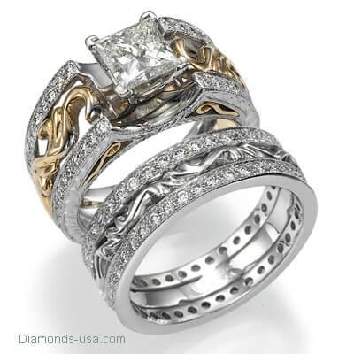 Anillo de boda o aniversario de diamantes estilo Art Decó