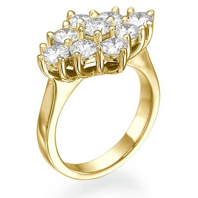 1.55 Carats 9 diamonds cluster dress ring