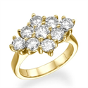 Foto Anillo de 1,55 quilates estilo racimo con 9 diamantes de