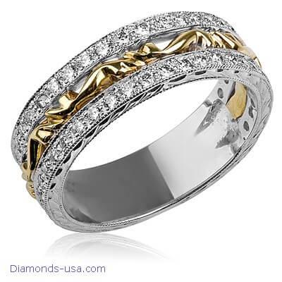 Art Deco wedding ring set with round diamonds