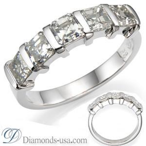 5 Asscher diamonds Anniversary ring